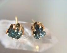 14kt Gold Raw Blue Diamond Stud Earrings- Rough Blue Diamond Studs- Raw Blue Diamond Post Earrings