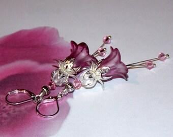 Flower Earrings, Lucite Flower Earrings, 'Foxgloves' Drop Earrings, Handmade Earrings, Hand Painted, Pink Flower Earrings, Filigree Silver