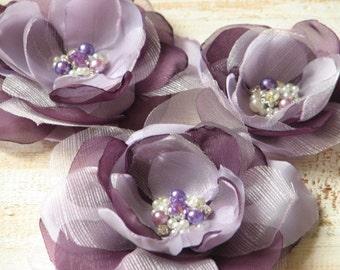 Purple lilac hair flower 3 purple hair flower Set of 3 lilac hair flower Lilac Lavender hair pin Wedding purple flower Lilac wedding flower