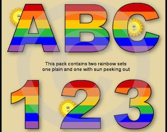 Rainbow Alphabet Letters & Numbers Clip Art Graphics
