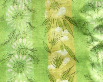 """Vintage Floral Voile Fabric // light weight, green, 44x45"""" & 31x45"""""""