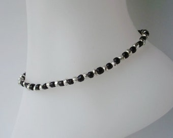 Black and Silver Glass Beaded Stretch Anklet Ankle Bracelet