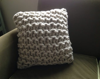 """Chunky Wool Knit Pillow with feather insert - 20""""x20"""""""