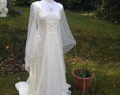 Ivory lace medieval renaissance pre raphaelite pagan Handfasting celtic wedding gown / dress 8 TO 14