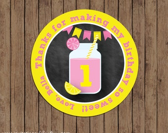 Pink Lemonade Favor Tags - Chalkboard - Thank You - Stickers - Circles - Birthday - PRINTABLE - Personalized