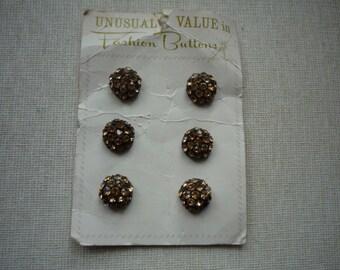 Vintage Six Citrine Rhinestone Black Tone Metal Buttons
