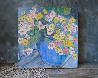 Floral Still Life Acrylic Painting - Petunias and Nastursiums in Cobalt Blue Planter - Canadian Art