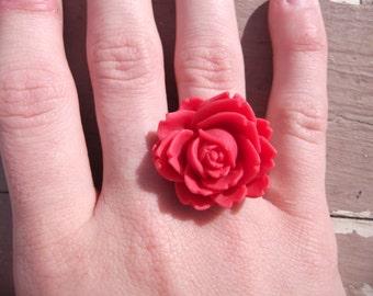 Handmade Red Flower Ring