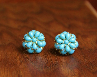 Teal and Gold Earring Posts