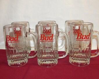 BUD MUGS King of Beers Set of 6 Heavy Glass Mugs