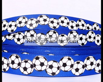"""5 yds 7/8""""  Bright Electric Blue with Black and White Soccer Balls  Grosgrain Ribbon"""
