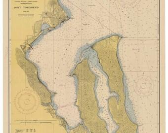 Port Townsend 1948  Nautical Map, Washington, Reprint PC Harbors Puget 6405