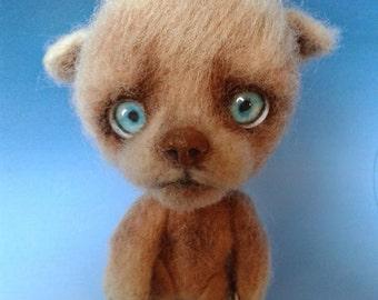Ooak-Teddy bear-Baster needle felted