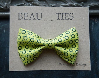 Baby Boy Toddler clip-on bow tie Lime green polka dots