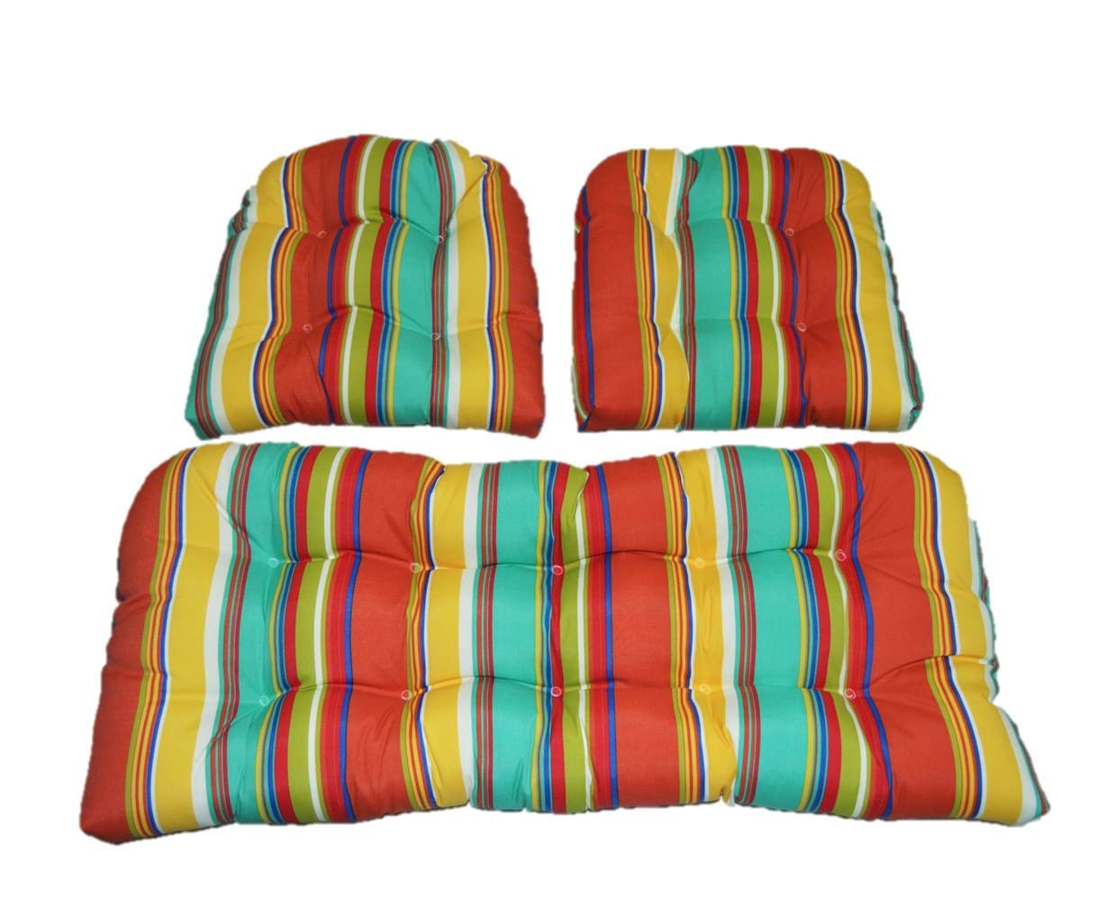 3 Piece Wicker Cushion Set Yellow Green Blue Coral Bright