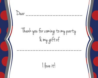 Thank You: Red/Blue Children's Fill in Cards