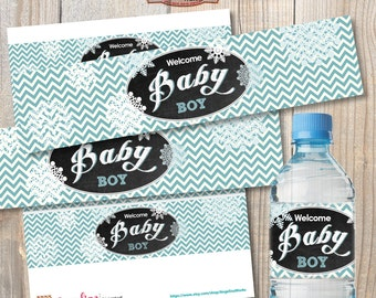 Winter Baby Shower Water bottle lables. Instant  download. Blue chevron. Digital Printable