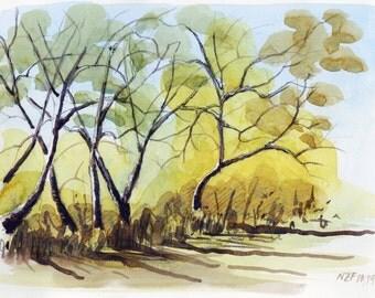 Autumn trees original watercolor painting trees decor autumn decor original painting ytellow art watercolor