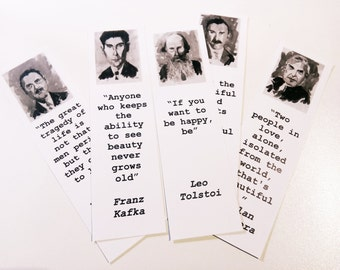 Author bookmarks set Thomas Mann Kafka Tolstoi Somerset Maugham Kundera bookmarks art literature bookmarks BLACK & WHITE pics