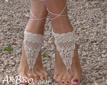 Crochet Barefoot Sandals, Tan Barefoot sandles,Beach Pool,Nude shoes,Foot jewelry Cream sandals