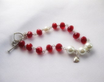 Crystal And Pearl Heart Toggle Bracelet