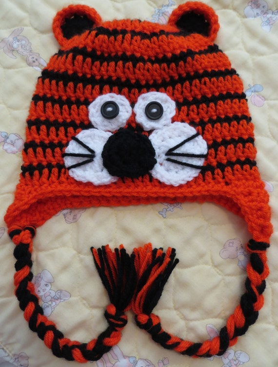 Crochet Baby TIGER Hat Size Infant to Toddler Winter Hat