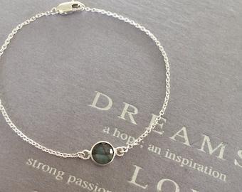 Natural Labradorite Bezel Set Gemstone Bracelet, Faceted Labradorite  Bracelet Set in Sterling Silver, Blue Fire Labradorite