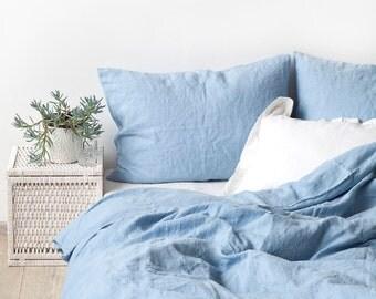 USA Sky Blue Stone Washed Linen Bed Set