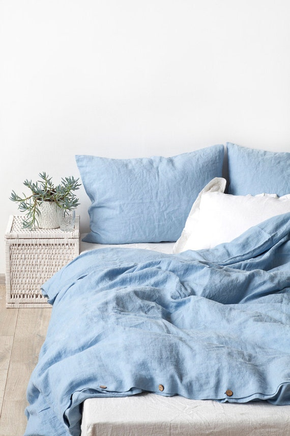 Usa Sky Blue Stone Washed Linen Bed Set