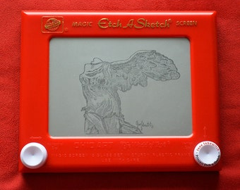 Winged Victory Etch A Sketch art