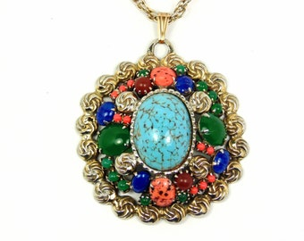 Vintage Faux Gemstone Necklace / Southwestern Style / Pendant with Chain