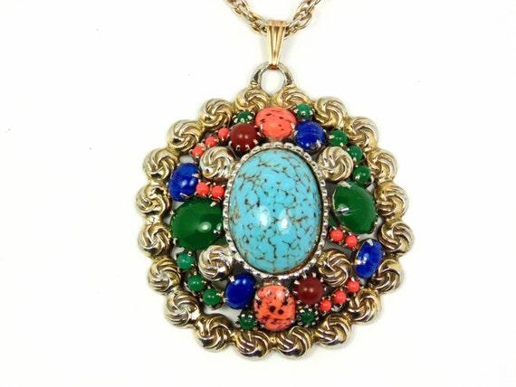 vintage faux gemstone necklace southwestern style pendant