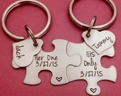 Customizable Puzzle Piece Key Chain Set His and Hers Her One His Only Gift For Him FREE US SHIPPING