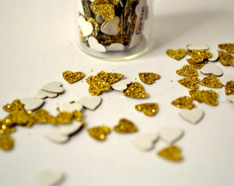 SALE - Jar of Hearts, tiny, gold w/ love note