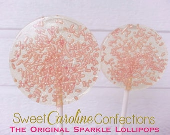Light Pink Wedding Favors, Pink Lollipops, Pink Wedding, Pink Wedding, Shabby Chic, Sparkle Lollipops --Set of Six
