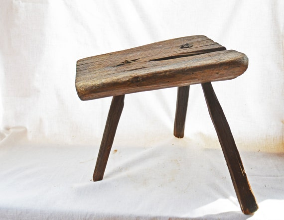Antique milking stool primitive legged wooden