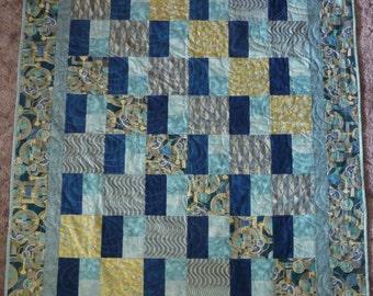 "Quilt, Lap Quilt ,Patchwork Quilt, Blue, Green, Gold, Quilt 50"" x 61"", Fast Shipping"