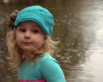 Girls Crochet Newsboy Cap, Toddler Girls Hat, Girls Fall Hat, Adult Newsboy Hat, Crochet Newsboy, Knit Cap with Flower, Crochet Flower Hat