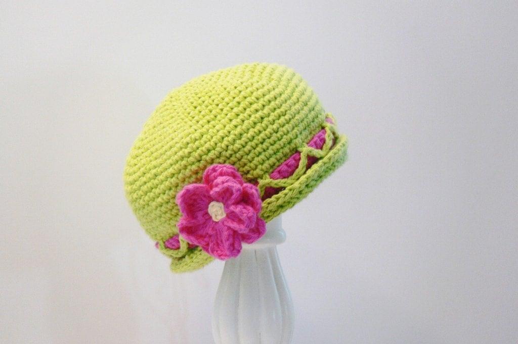 Crochet Pattern Girls Sun Hat with Flower by MeadowvaleStudio