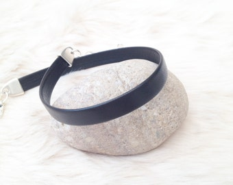 Black  Genuine Nappa leather plain choker with silver plated adjustable links. Leather  gothic jewellery