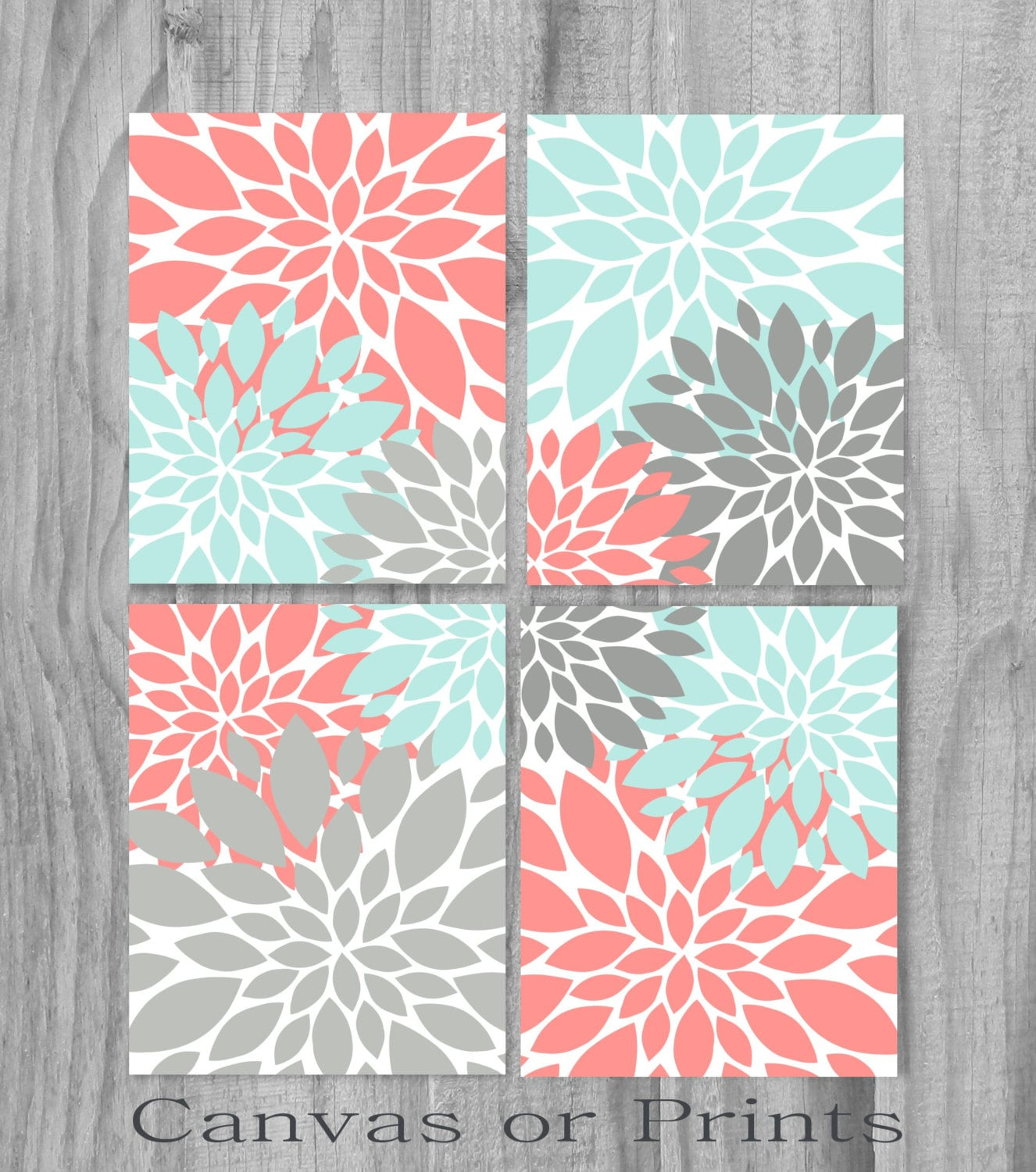 coral aqua turquoise gray print or canvas art print home decor. Black Bedroom Furniture Sets. Home Design Ideas