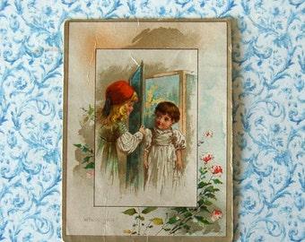 """Vintage Children VTC; """"Who's You?"""" Children at Open Door."""