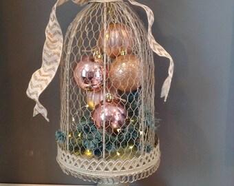 Soft gold pre-lit birdcage centerpiece