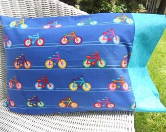 Travel Pillowcase, Kids Pillowcase, Bicycle Pillowcase, Bicycle Theme, Kids Bedding, Kids Room Decor, Fits 12 x 16 Travel Pillow