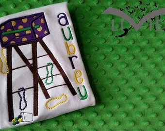 Personalized Mardi Gras Ladder Appliqued Shirt