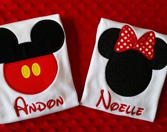 Mickey Mouse or Minnie Mouse Appliqued Shirt