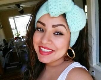 Crochet Headband Ear Warmer with Large Bow