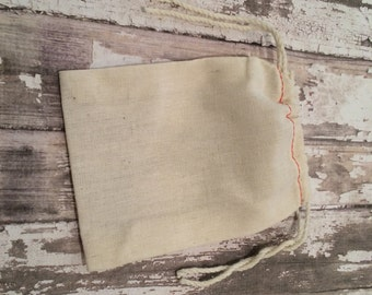 "Cotton Muslin Double Drawstring Bags with Red Stitching, 3 1/2 X 5"", Set of 25, Unprinted Natural Cotton Bags, Wedding Favor or Gift Bags."