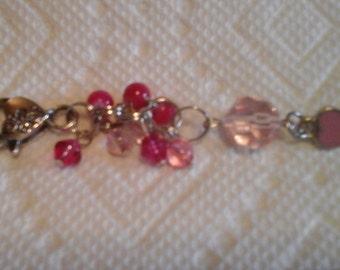 Silver heart charm purse, phone, key chain or zipper pull