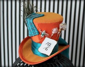 Mad Hatter Hat, Mini Top Hat, Fascinator, Mini Hat, Top Hat, Mini Hats, Tea Party Hat, Wedding Hat, Women Top Hat, Orange Mini Top Hat